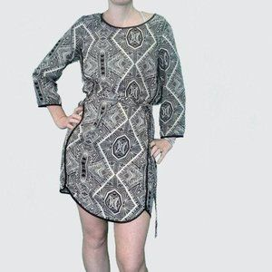 Anthropologie Belted aztec geometric small dress